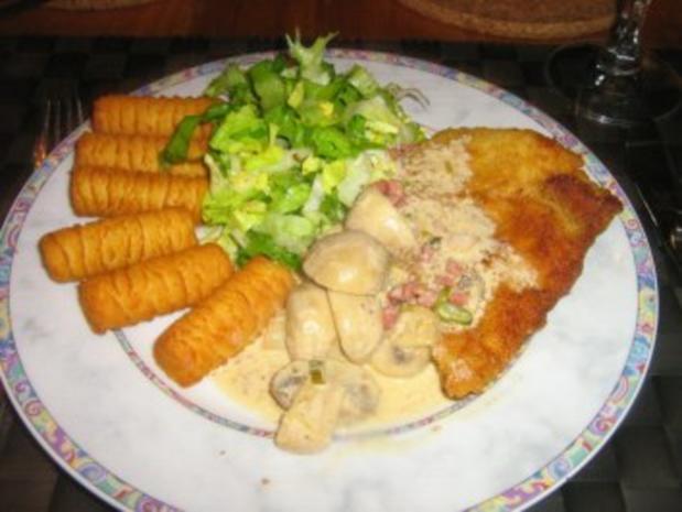 Schnitzel mit Champignon-Rahmsoße und Kroketten - Rezept - Bild Nr. 6