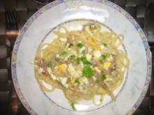 Bavette mit einer leckeren Gorgonzola - Eier - Soße - Rezept