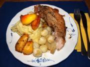 Schweinerippe dick, geschmort mit Äpfeln und Zwiebeln - Rezept