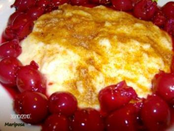 Grießbrei - einfach mit Kirschen - Rezept