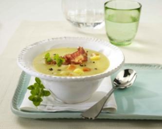Cremige Kartoffel-Trüffelsuppe mit Knusperbacon - Rezept