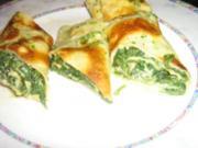 Kräuter - Pfannkuchenröllchen mit frischem Rahmspinat gefüllt - Rezept