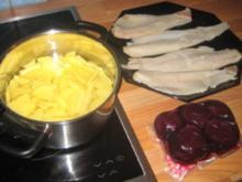 Fisch - Kabeljaufilet auf rote Betespiegel mit Kartoffelrand - Rezept