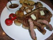 T-Bone Steak eingelegt in Cognac-BBQ-Sauce mit Gemüsebeilage - Rezept