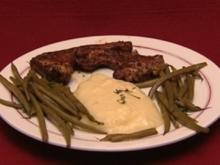 Lammkotelett mit Prinzessbohnen, Kartoffelpüree und Petersilienwurzeln (Alice Hoffmann) - Rezept