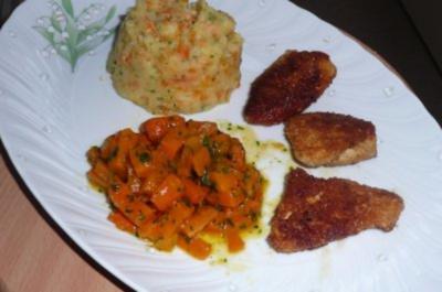 Geflügel: Chicken Nuggets an Kartoffelpüree und karamellisierten Möhren. - Rezept