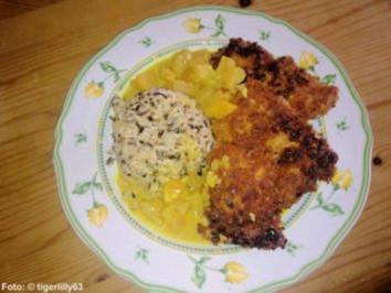 Gebackene Putenschnitzel an Curry-Fruchtsauce - Rezept