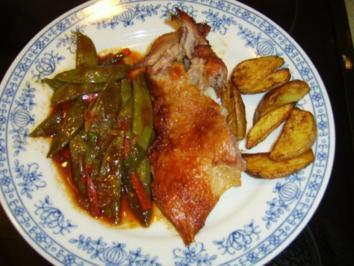 Knusprige Entenbrust mit Zuckerschoten(Phet Phad Sie Yiew) - Rezept