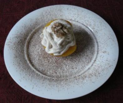 Zimt - Mascarponecreme auf Pfirsich - Rezept