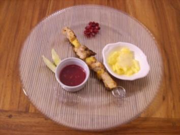 Schwertfisch-Zitrus-Brochettes mit Granatapfeldip - Rezept
