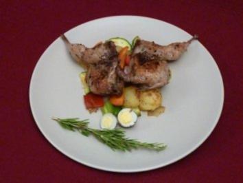 Wachtel mit frischem Gemüse und Kartoffeln - Rezept