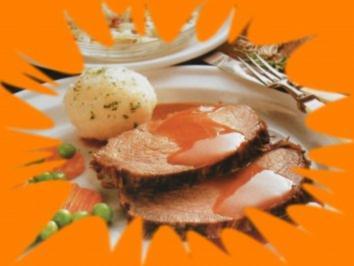 Sauerbraten mit Knödeln und Gemüse - Rezept