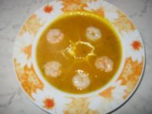 Kürbis-Kartoffel-Suppe mit Garnelen - Rezept