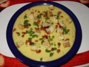 Kartoffel-Creme Suppe mit Speckcroutons - Rezept