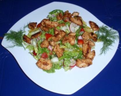 Bunter Salat mit Hähnchenstreifen - Rezept