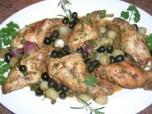Kaninchen mit Oliven und Balsamico-Weißwein-Sauce (Coniglio con le olive) - Rezept