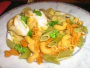 Hähnchenbrust gebraten mit Champignons-Ananas-Petersilienwurzel- Gemüse - Rezept