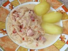 Eintopf: Sauerkraut mit Kasseler, gerösteten Paprikaschoten und Crème leicht - Rezept