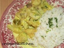 Putengulasch in Curry - Ananas - Lauch - Soße - Rezept
