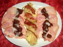 Kasseler-Carpaccio mit Sauerkrautpesto an Sauerkrautsalat - Rezept