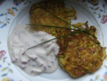 Kartoffel-Zuchini-Röstis mit einem Radischen-Quark-Dip - Rezept
