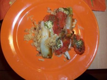 Chicorées gratiniert mit Tomaten und Mozzarella - Rezept