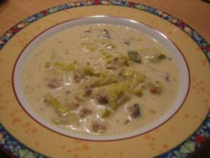 Käse-Lauch-Hackfleisch-Suppe - Rezept