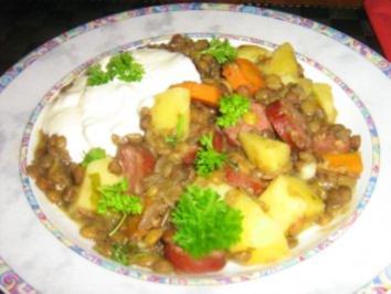 Linseneintopf mit Kabanossi - Rezept