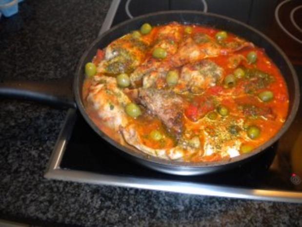 Coniglio alle olive verdi - Rezept