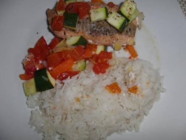 Fisch : Lachs im feinen und frischen Gemüseauflauf - Rezept - Bild Nr. 6