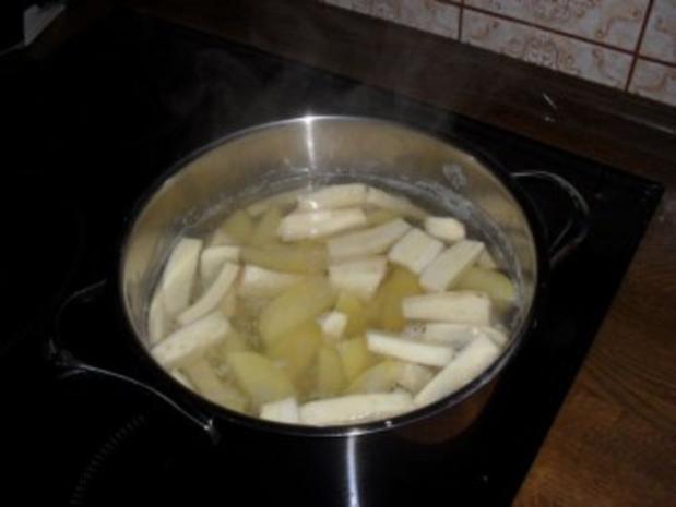 Pastinaken-Kartoffelplätzchen mit Schinken - Rezept - Bild Nr. 3