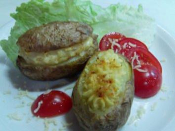 Kartoffeln doppelt gebacken mit einer Sahne-Käse-Füllung - Rezept