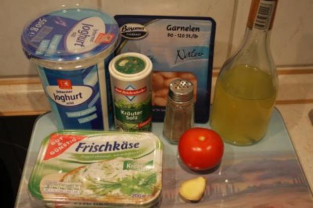 Garnelen an Frischkäse-Joghurt-Dip und Tomate - Rezept - Bild Nr. 2