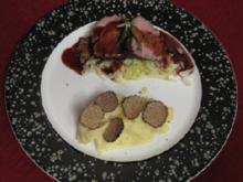 Pochiertes Kalbsfilet mit Sahnespitzkohl und Rotwein-Jus - Rezept