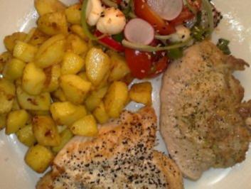 Schweinekotelett und Hähnchenbrust mit Kartoffelwürfel / Keine STERNEN vergeben bitte!!! - Rezept