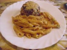 Überbackene Käsefrikadellen mit Makkaroni - Rezept
