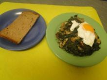 Spinat mit pochierten Eiern (In der Mkrowelle schnell aufgetaut) - Rezept