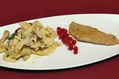 Rezept: Scaloppine al Marsala mit hausgemachten Bandnudeln und Steinpilzen