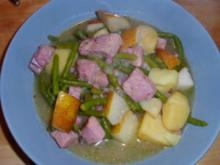 Kasseler-Eintopf mit Birnen und Bohnen - Rezept