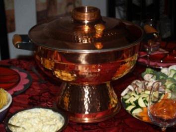 Mongolentopf =  Fleisch und Gemüse-Fondue - Rezept