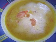 Curryschaumsuppe mit Garnelen - Rezept