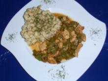 Bohnen-Putenfleisch-Pfanne mit Spiralnudeln - Rezept