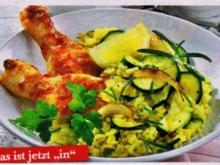 Reis: Zucchini-Risotto mit Hähnchenkeulen - Rezept