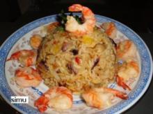 Gebratener Reis mit Garnelen - Rezept