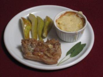 Arrangement von Kalb, Kartoffeln und Birnen - Rezept