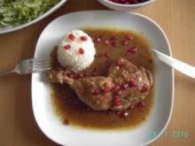 Hühnerkeulen mit Granatapfelkernen - Rezept