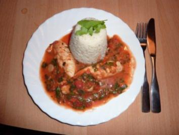 Rezept: Fl/Huhn: Hähnchen in Tomate- Ruccola