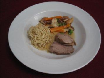 In Pflaumenwein marinierter asiatischer Sauerbraten mit Zitronengras und Sojasoße - Rezept