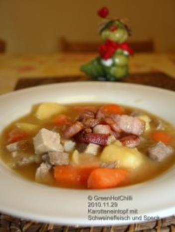 Karotteneintopf mit Schweinefleisch und Speck (mit Bild und Raupi) - Rezept