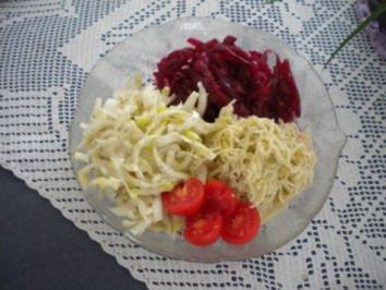 Kalbsgeschnetzeltes an Pilzsauce mit Pommes Douchesse und gemischter Salat - Rezept